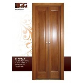 Usa pentru interior din Stejar Masiv Stratificat, in doua canate, culoare tek, pervaz rotund, ISM-023
