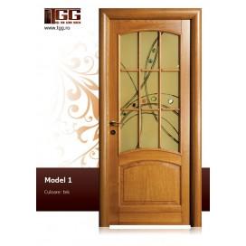 Usa de interior din Stejar Masiv Stratificat, finisaj tek, 2/3 geam, ISM-001