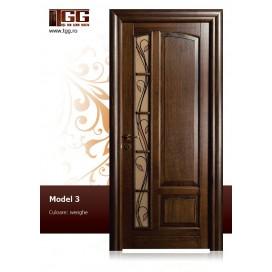 Usa de interior din Stejar Masiv Stratificat, finisaj wenge, 1/3 geam longitudinal, ISM-003