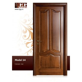Usa pentru interior din Stejar Masiv Stratificat, finisaj nuc, plina, modern, ISM-014