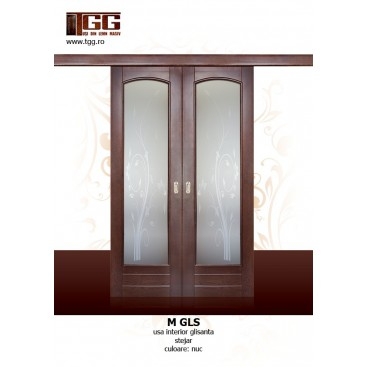 Usa pentru interior din Stejar Masiv Stratificat, finisaj nuc, bucutarie, living, bai, ISM-GLS