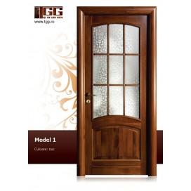 Usa de interior din Tei Masiv Stratificat, finisaj nuc, 2/3 geam, ITM-001
