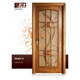 Usa de interior din Tei Masiv Stratificat, finisaj tek, 3/3 geam, ITM-004