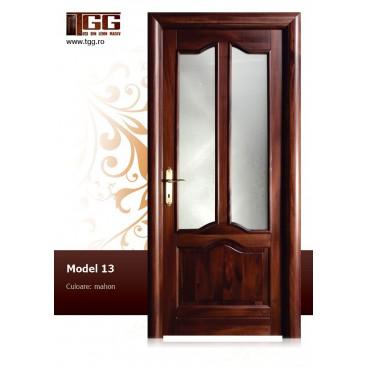 Usa de interior din Tei Masiv Stratificat, finisaj mahon, 2/3 geam, ITM-013