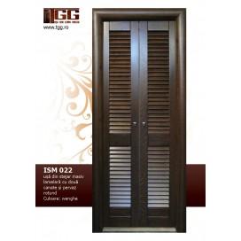 Usa pentru interior din Stejar Masiv Stratificat, lamelara, in doua canate, finisaj wenge, pervaz rotund, ISM-022