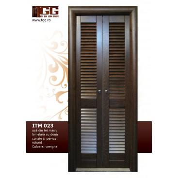 Usa pentru interior din Tei Masiv Stratificat, lamelara, in doua canate, finisaj wenge, pervaz rotund, ITM-023